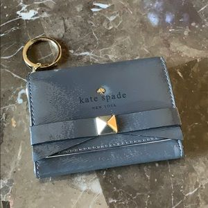 KATE SPADE Gray Leather Keychain Wallet